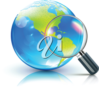 Royalty Free Clipart Image of a Magnifying Glass and Earth