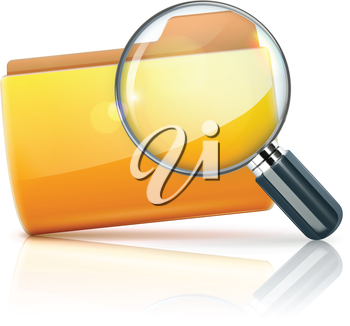 Royalty Free Clipart Image of a Folder Icon and Magnifying Glass