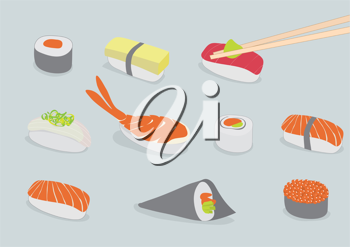 Royalty Free Clipart Image of Types of Sushi