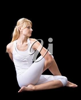 Royalty Free Photo of a Woman Practicing Yoga