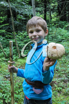 Smiling boy in forest with large mushroom in his hand