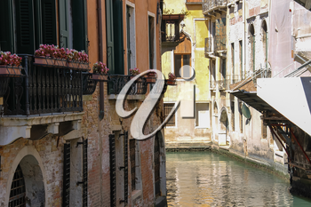 View of famous small canal in Venice, Italy