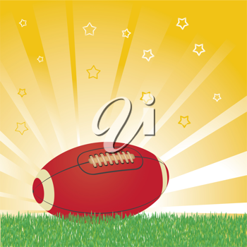 Royalty Free Clipart Image of a Football Ball on Field Background