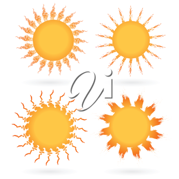 Royalty Free Clipart Image of a Set of Suns on White