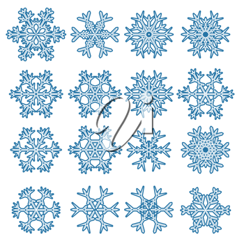 set of snowflakes isolated on white