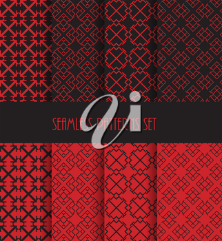 Stylish seamless pattern set. Endless oriental ornament. Repeatable geometric style. Decorative line tile backgrounds. Vector illustration. Fashion fabric ornament collection.