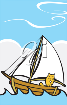 Royalty Free Clipart Image of a Cat on a Sailboat