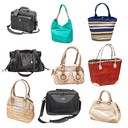 collection of handbags isolated on white background