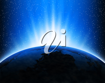 Royalty Free Clipart Image of the Planet Earth With Rays of Sun in Space