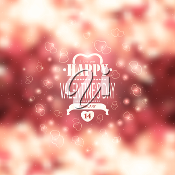 Valentine's Day Background With Hearts Title Inscription