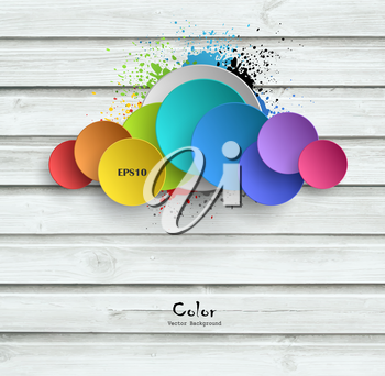 Wooden Background With Color Plates And Splashes