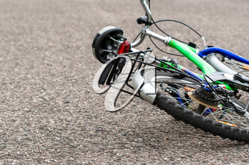 Bike lying on the road after accident