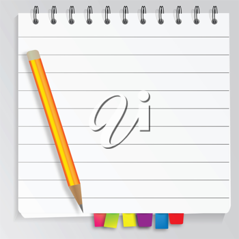 Royalty Free Clipart Image of a Pencil on a Notepad