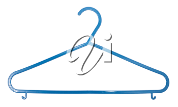 Blue plastic clothes rack on white