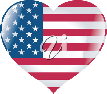 Image of heart with flag of United States