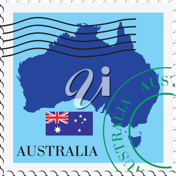 Image of stamp with map and flag of Australia
