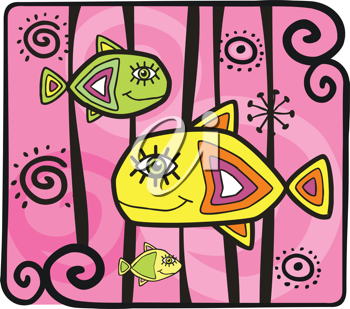 Royalty Free Clipart Image of Decorative Fishes