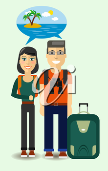 Couple Flat Young Travelers dreaming about sunny beach. Colorful Vector Illustration