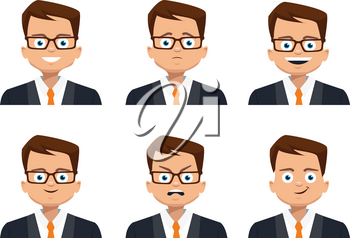 Man character design. Businessman isolated on white background. Businessman character design. Businessman with different facial expressions.
