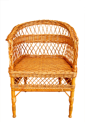 Woven from wooden twigs brown armchair isolated on a white background