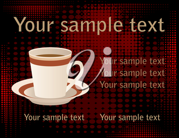 cup of coffee over halftone background