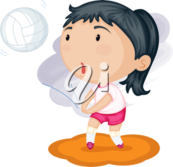 Royalty Free Clipart Image of a Girl Playing Volleyball