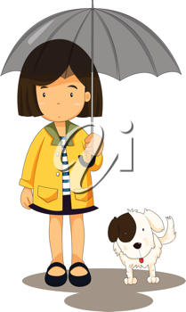 Royalty Free Clipart Image of a Little Girl With a Dog and Umbrella