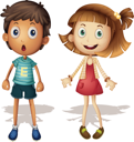 Illustration of a young girl and boy