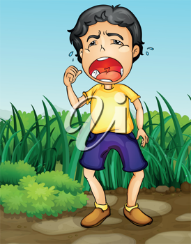 Illustration of a boy crying in a garden