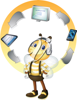 Illustration of a networking bee
