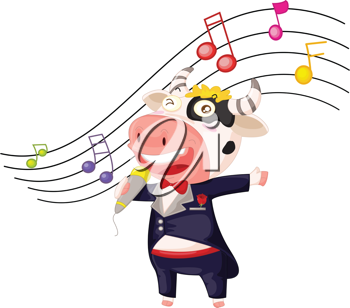 illustration of a singing cow on white