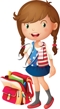 illustration of a girl with school bag on a white background