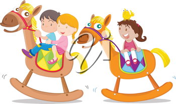 Illustration of kids playing on toy-horse