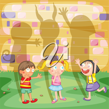 Illustration of boy and girls with shadows