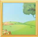 Illustration of a beautiful landscape photo frame on a white background
