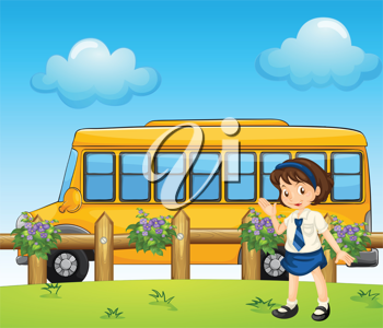 Illustration of a student and the school bus