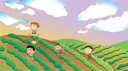 Illustration of four boys playing in the farm