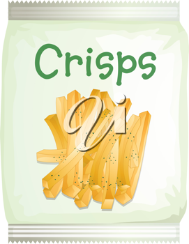Illustration of a packet of frech fries on a white background