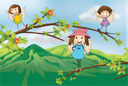 Illustration of angels playing at the branch of a tree