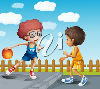 Illustration of two boys playing basketball