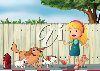 Illustration of a girl playing with her dogs