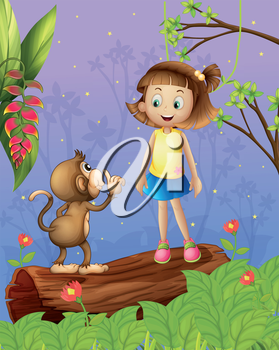 Illustration of a girl and a monkey in the forest