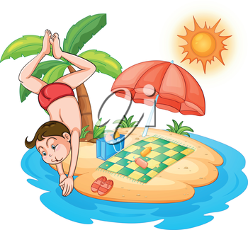 Illustration of a boy diving at the  beach on a white background