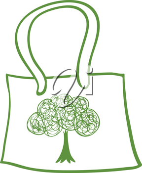 Illustration of a green recycled bag on a white background
