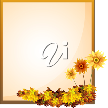 Illustration of a framed empty signage with flowers on a white background