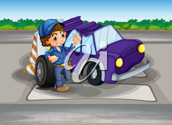 Illustration of a pedestrian lane with a broken car and a young boy