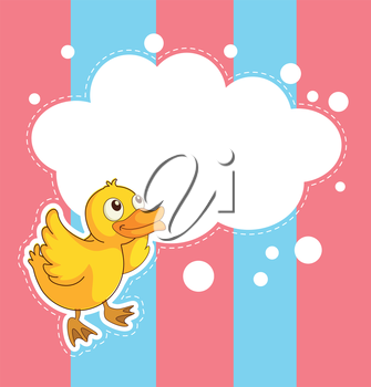 Illustration of a stationery with a duckling