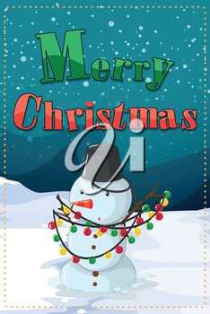 Illustration of a christmas card with a snowman