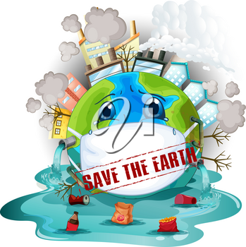 Save the earth icon illustration