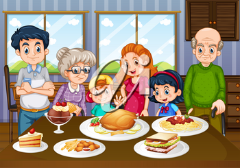 Family having meal together in dining room illustration